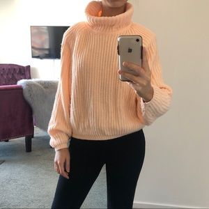 Vintage peach /  neon orange turtleneck sweater
